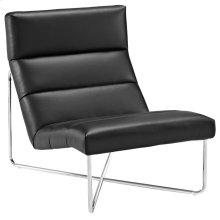 Reach Upholstered Vinyl Lounge Chair in Black