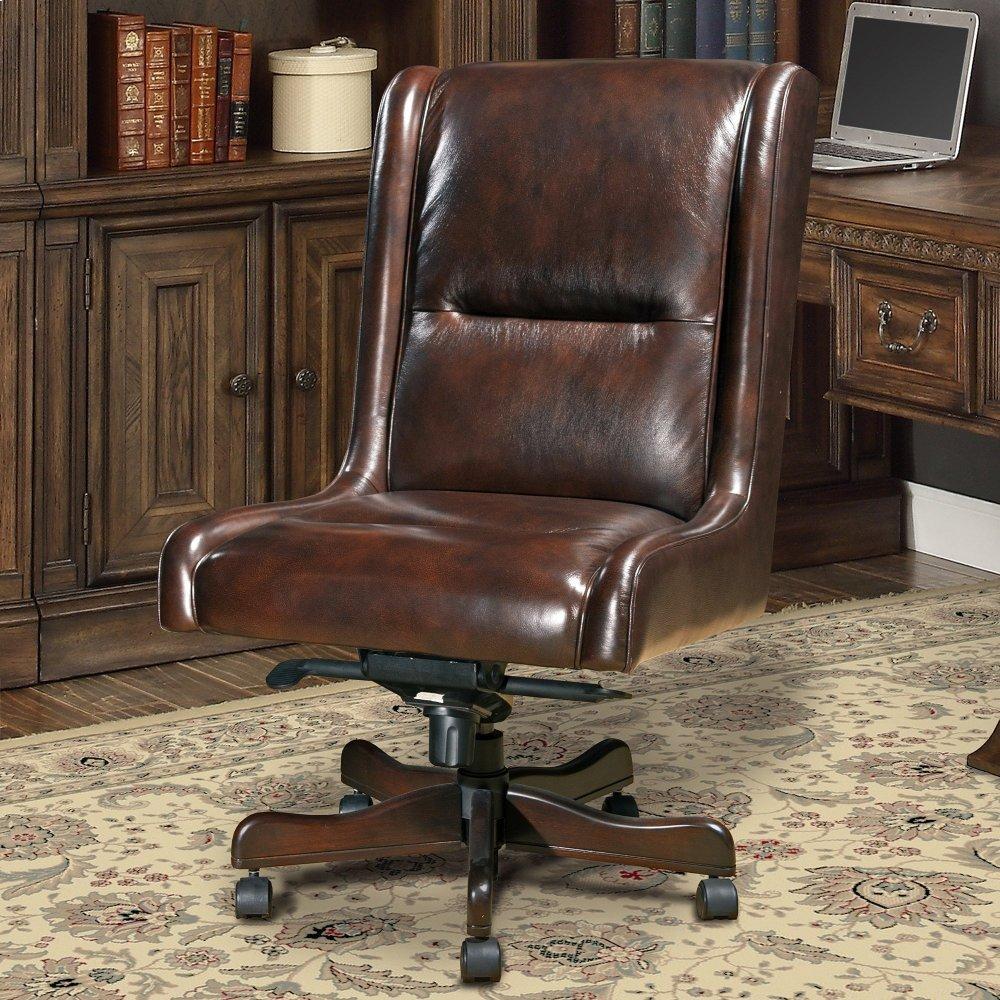 DC#108 Cigar Leather Desk Chair