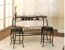 Sunset Trading Tiffany Bar with Built-In Wine Rack & Two Stools - Sunset Trading