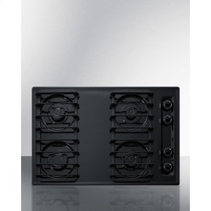 "Summit30"" Wide Sealed Burner Gas Cooktop In Black With Cast Iron Grates and Spark Ignition, Made In the USA"
