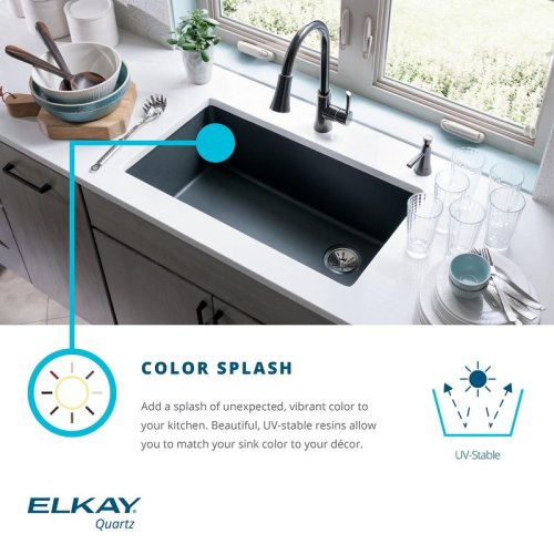 "Elkay Quartz Classic 33"" x 22"" x 9-1/2"", Equal Double Bowl Drop-in Sink with Aqua Divide, Black"