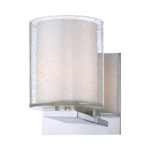 Combo 1-Light Vanity Lamp in Chrome with Clear Stromboli and White Opal Glass
