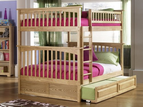 Columbia Bunk Bed Full over Full with Raised Panel Trundle Bed in Natural