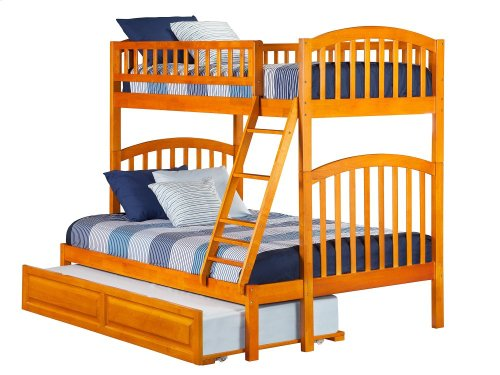 Richland Bunk Bed Twin over Full with Raised Panel Trundle Bed in Caramel Latte