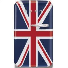 "Approx 16"" 50's Retro Style Mini Refrigerator, Union Jack, Left hand hinge"