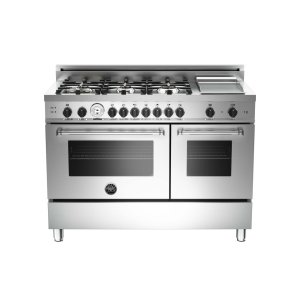 48 6-Burner + Griddle, Gas Double Oven Stainless -