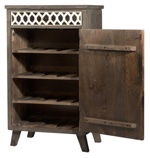 Artesa Low Wine Bar Cabinet - Bone Drawer Fronts - Distressed Brown Gray