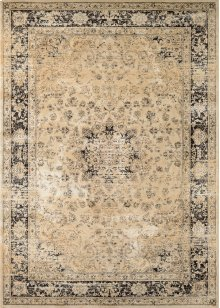 0428/0402 Persian Vase / Oatmeal-Black Area Rugs