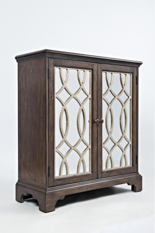 """Casa Bella 32"""" Accent Cabinet- Chestnut With Vintage Silver"""