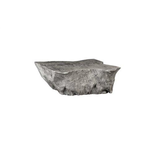 Chamcha Wood Thick Coffee Table, Freeform, Grey Stone