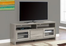 """TV STAND - 60""""L / DARK TAUPE WITH GLASS DOORS"""