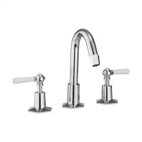 Waldorf White Lever Tall Spout Widespread Lavatory Faucet - Polished Chrome