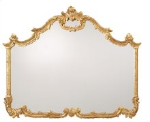 Baroque Hand Carved Overmantel Mirror in Antiqued Gold Metal Leaf Finish