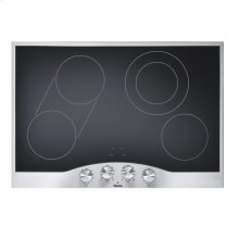 "DISPLAY - Stainless Steel/Black Glass 30"" Electric Radiant Cooktop - DECU (30"" wide, four elements)"