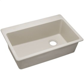 "Elkay Quartz Classic 33"" x 22"" x 9-1/2"", Single Bowl Top Mount Sink, Bisque"
