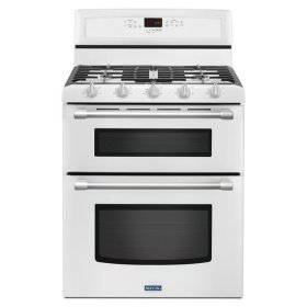Maytag® 30-inch Wide Double Oven Gas Range with Power™ Burner - 6.0 cu. ft. - White