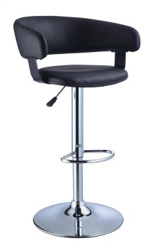 Black Quilted Faux Leather & Chrome Adjustable Height Bar Stool