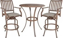 Island Breeze 3 PC Swivel Slatted Pub Table Set