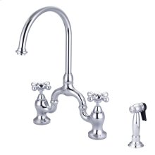 Banner Kitchen Bridge Faucet - Metal Button Cross Handles - Brushed Nickel