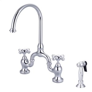 Banner Kitchen Bridge Faucet - Metal Button Cross Handles - Brushed Nickel Product Image