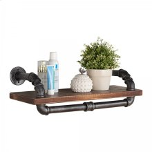 """Armen Living 24"""" Isadore Industrial Pine Wood Floating Wall Shelf in Gray and Walnut Finish"""