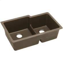 "Elkay Quartz Classic 33"" x 20-1/2"" x 9-1/2"", Offset 60/40 Double Bowl Undermount Sink with Aqua Divide, Mocha"