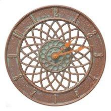 """Spiral 14"""" Indoor Outdoor Wall Clock - Copper Vedigris"""