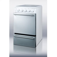 """20"""" wide 'slide-in' look electric range with stainless steel doors, white cabinet, smooth ceramic glass burners, and towel bar handles"""