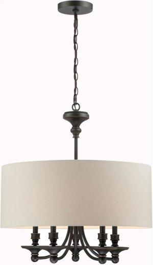 5-lite Pendant, Dark Bronze/white Fabric Shade, E12 B 40wx5