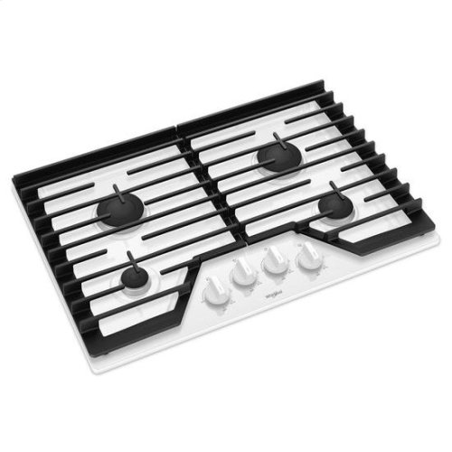 Whirlpool® 30-inch Gas Cooktop with EZ-2-Lift™ Hinged Cast-Iron Grates - White