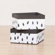 Baskets Feathers Print, 2-Pack - White and Gray