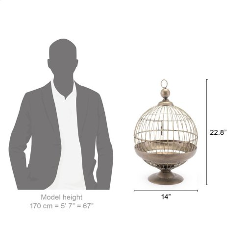 Round Birdcage Candle Holder Gray