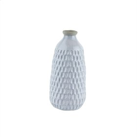 "Ceramic Organic Scalloped Vase, 12.25"" Gray"