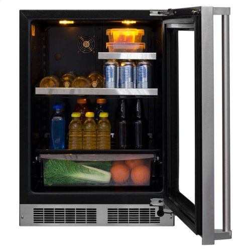 """Marvel Professional 24"""" Beverage Refrigerator with Drawer - Stainless Frame, Glass Door With Lock - Integrated Left Hinge, Professional Handle"""
