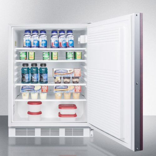 ADA Compliant Built-in Undercounter All-refrigerator for General Purpose Use, Auto Defrost W/lock, Integrated Door Frame for Overlay Panels, and White Cabinet