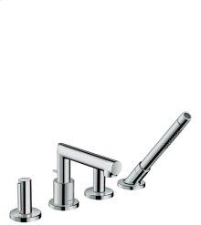 Chrome 4-hole rim mounted bath mixer with zero handles 1.8 GPM