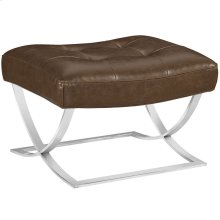 Slope Upholstered Vinyl Ottoman in Brown