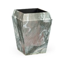 Small Square Faux Black & Grey Marble Planter