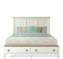 Myra Queen Upholstered Bench Storage Footboard Paperwhite finish