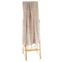 Ivory Marble Knit Throw with Tassels.