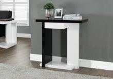 """ACCENT TABLE - 32""""L / GLOSSY WHITE / BLACK HALL CONSOLE"""