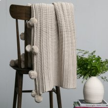 Callaway Pom Pom Throw - Taupe