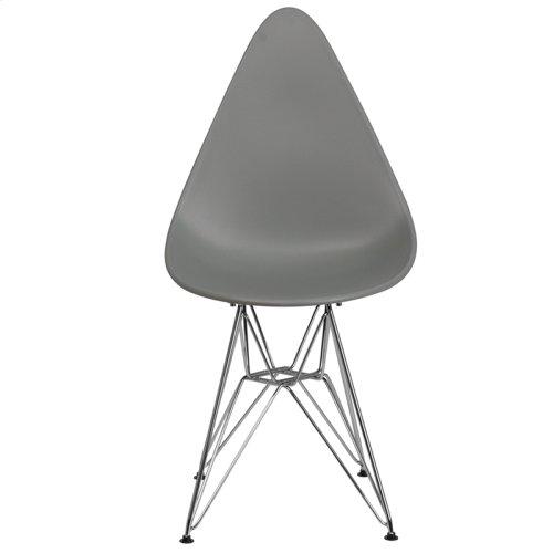 Allegra Series Teardrop Moss Gray Plastic Chair with Chrome Base