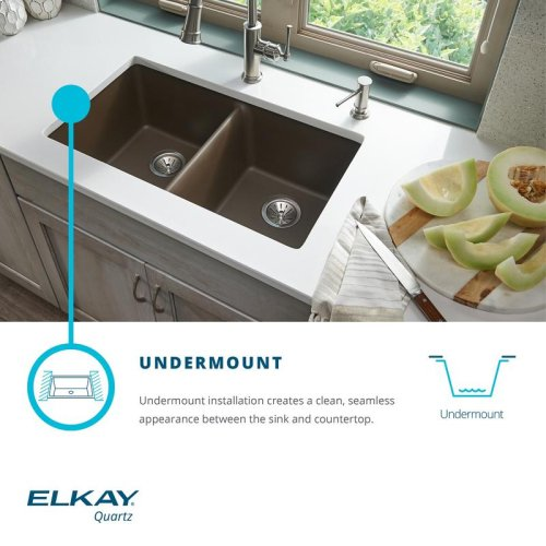 "Elkay Quartz Classic 33"" x 20-11/16"" x 9"", Offset 40/60 Double Bowl Undermount Sink"