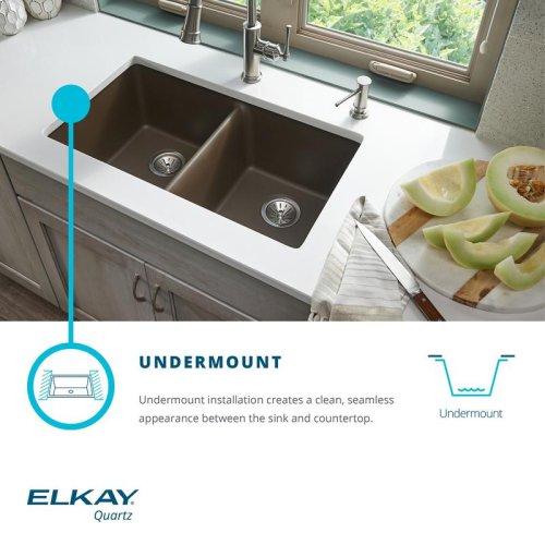 "Elkay Quartz Classic 32-1/2"" x 20"" x 10"", 60/40 Double Bowl Undermount Sink"