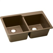 "Elkay Quartz Classic 33"" x 22"" x 9-1/2"", Offset Double Bowl Drop-in Sink, Mocha"