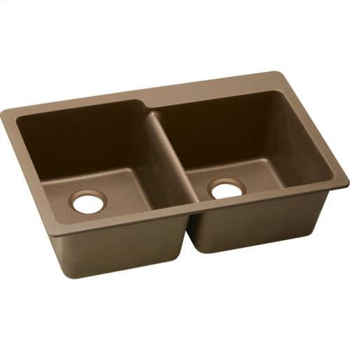"Elkay Quartz Classic 33"" x 22"" x 9-1/2"", Offset Double Bowl Drop-in Sink, Mocha"