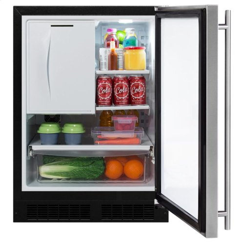 """Marvel 24"""" Refrigerator Freezer with Ice Maker and Drawer Storage - Solid Stainless Steel Door - Right Hinge"""