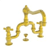Uncoated-Polished-Brass-Living Lavatory Bridge Faucet