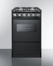 "Black Slide-in Gas Range With Slim 20"" Width and Oven Window"